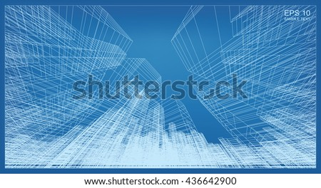 Abstract city background of building wireframe perspective. 3D render for construction graphic idea. - stock vector