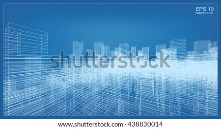 Abstract city background of 3D building wireframe perspective. Vector construction graphic idea. - stock vector