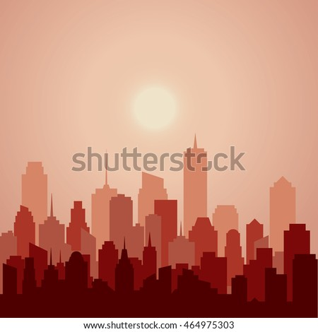 abstract city, cityscape skyscrapers, red vector background