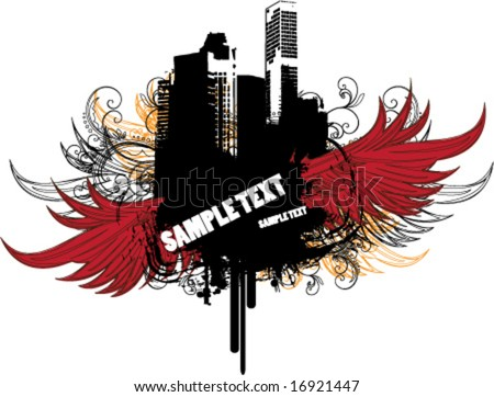 Abstract city label - stock vector