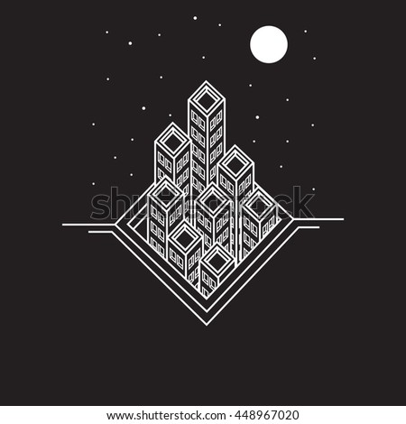 abstract city. line art. Flat Line design graphic image concept, elements layout of Urban Landscape.Creative Work Flow Items. Vector Illustration.background with stars - stock vector