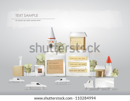 Abstract city made of paper cubes with space for text - stock vector