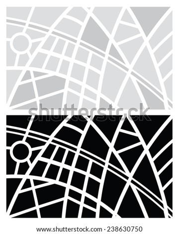 ABSTRACT CITY MAP GRAY AND BLACK ON WHITE BACKGROUND  - stock vector