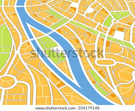 Abstract city map illustration in perspective - stock vector