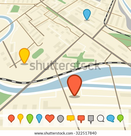 Abstract city map in perspective with different color pins - stock vector
