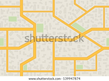 Abstract city map seamless pattern. Vector illustration.