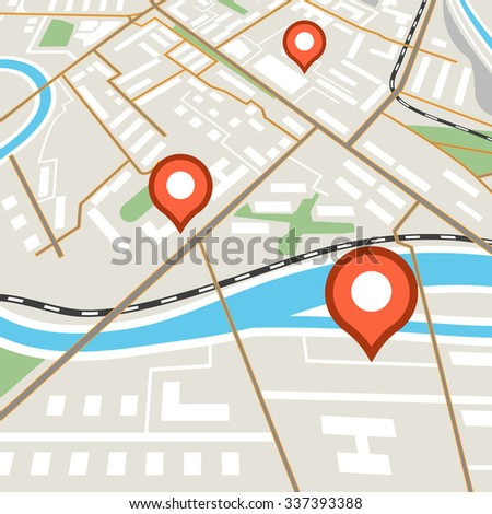 Abstract city map with red pins