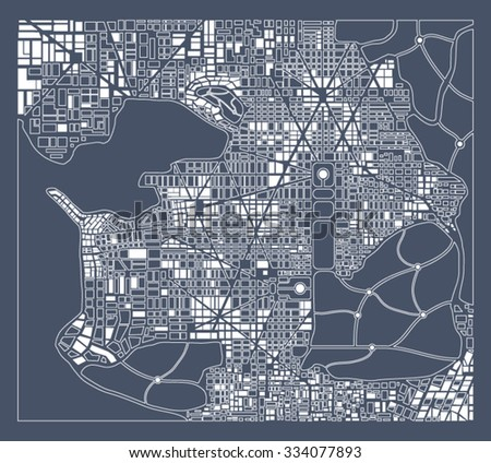 Abstract city plan.  Editable vector street map of a fictional generic town. Abstract urban background.