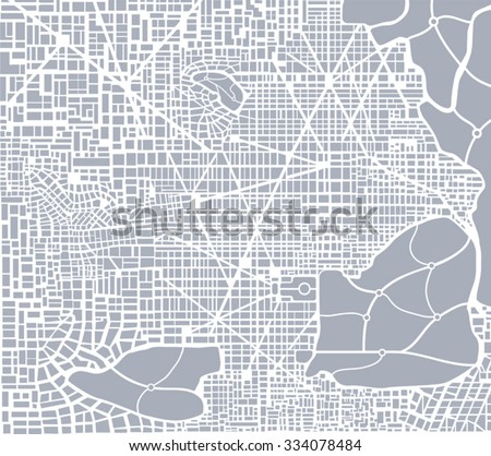 Abstract city plan.  Editable vector street map of a fictional generic town. Abstract urban background. - stock vector