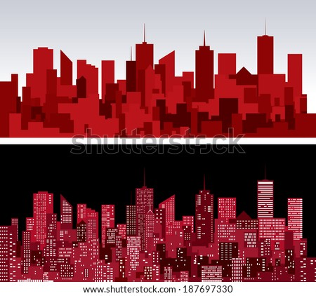 abstract city skylines in two red versions - stock vector