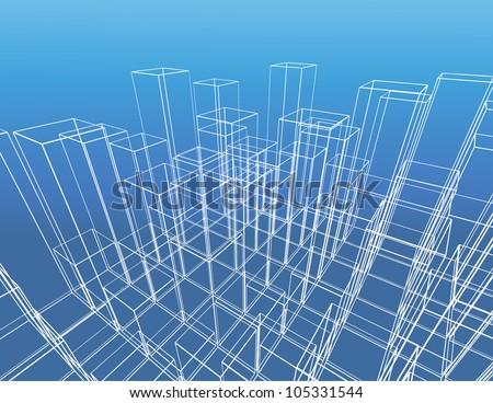 abstract city vector construction. - stock vector