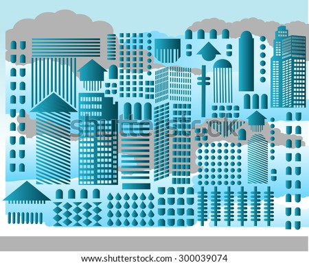 Abstract cityscape geometric shapes clouds behind  - stock vector