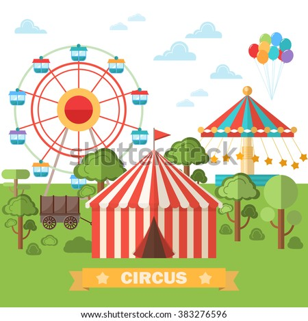 Abstract classical circus tent . Vector illustration. Flat style .  sc 1 st  Shutterstock & Abstract Classical Circus Tent Vector Illustration Stock Vector ...