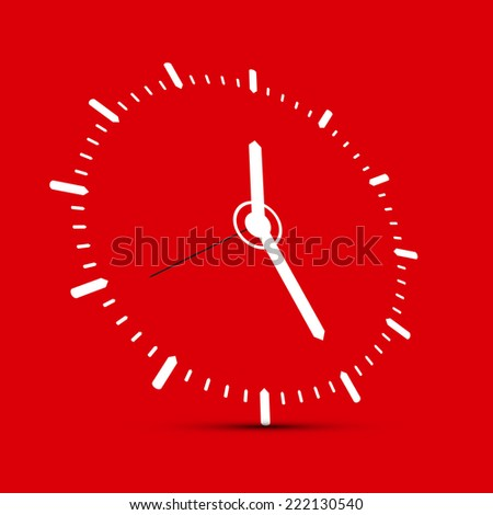 Abstract Clock Illustration on Red Background - stock vector