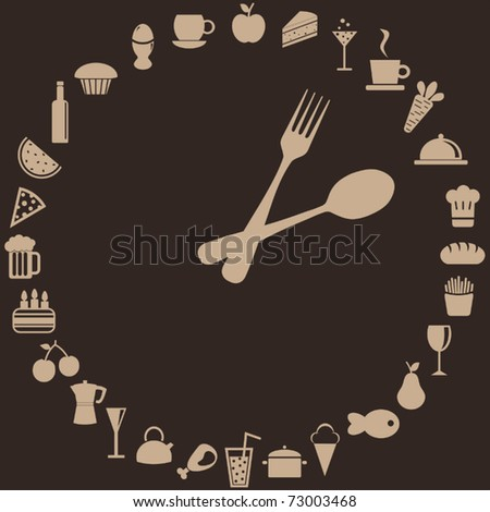 abstract clock made of spoon, fork and food - stock vector