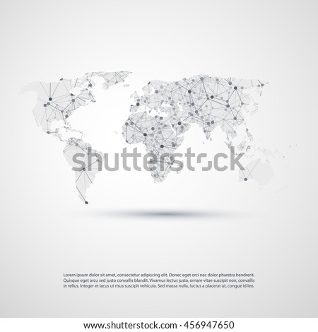Abstract Cloud Computing and Network Connections Concept Design with World Map - Illustration in Editable Vector Format - stock vector