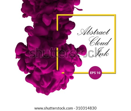 Abstract cloud ink. Pink color and yellow border. Water paint, art banner, splash pink ink. Physics vibrant, aquarel, design poster. Fashion - stock vector