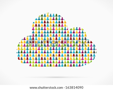 Abstract cloud made out of large group of people