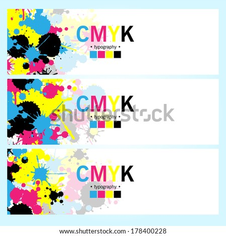 Abstract CMYK banners set - stock vector