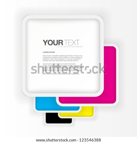 Abstract CMYK rounded squares text box design vector - stock vector