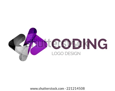 Abstract code icon logo design made of color pieces - various geometric shapes - stock vector