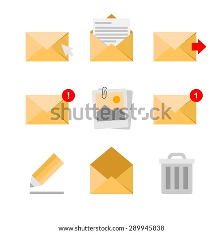Abstract collection of mail and message icons on a white background - stock vector