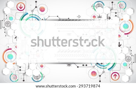 Abstract color background with various technological elements. Vector - stock vector