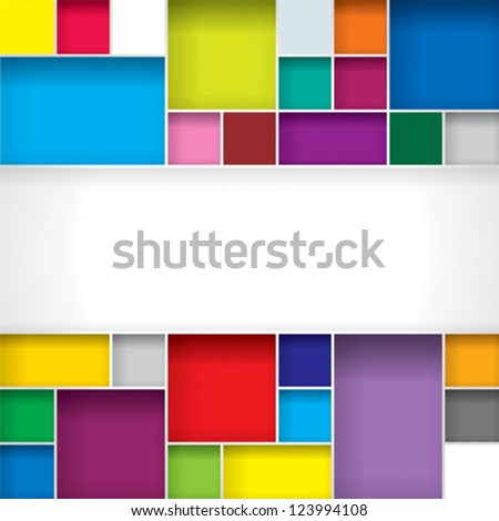 Abstract color boxes background with copy space. - stock vector