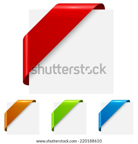 Abstract color corner ribbon tags isolated on white background. - stock vector
