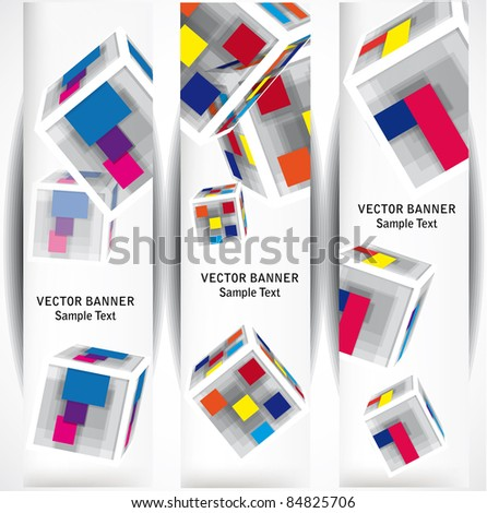 abstract color cubes web banners - stock vector