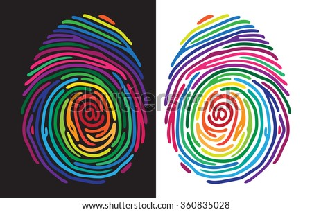 Abstract color finger print on black and white background. Vector illustration - stock vector