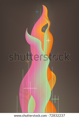 Abstract color flame with plus mark