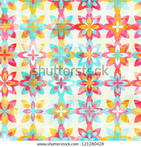 Abstract color flowers seamless pattern - stock vector