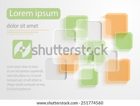 Abstract color glass rectangle on white background - stock vector