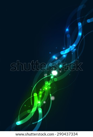 Abstract color glowing lines in dark space with stars and light effects. Futuristic wave background with copyspace for your message