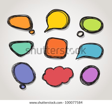 Abstract color hand-drawn speech clound - stock vector