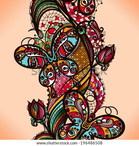 Abstract color lacy pattern of the elements of flowers and butterflies. - stock vector
