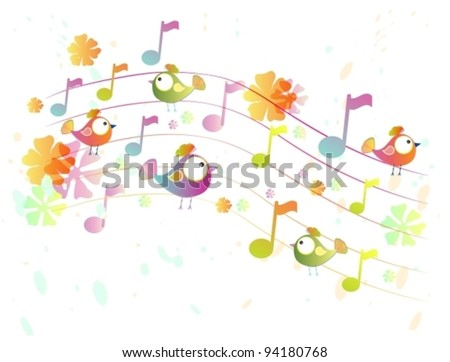 Abstract color music background with birds,vector illustration - stock vector
