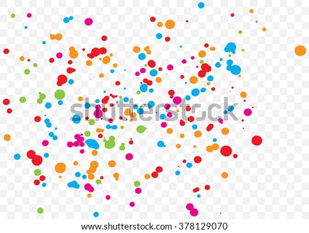 Abstract color splash illustration on transparent background. Calligraphy ink drop on paper random pattern background in color. Colorful confetti on transparent background.  - stock vector