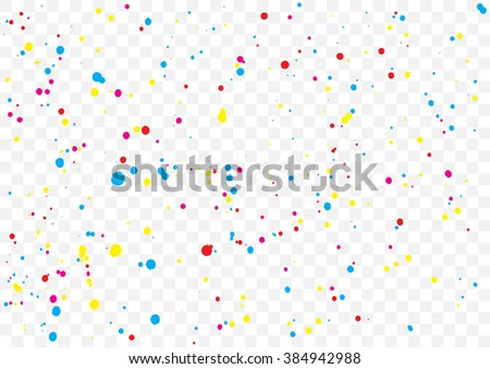 Abstract color splash illustration on transparent background. Calligraphy ink drop on paper random pattern background in color. Colorful confetti on transparent background.
