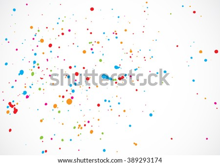 Abstract color splash illustration on white background. Calligraphy ink drop on paper random pattern background in color. Colorful confetti on white background.  - stock vector