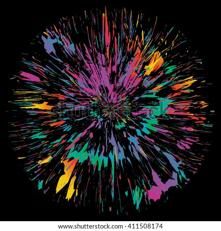Abstract color splash isolated flower illustration on black background. (Not used auto trace) - stock vector