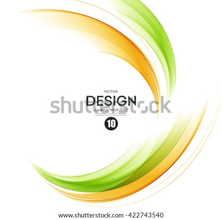 Abstract color wave design element. Orange and green wave - stock vector