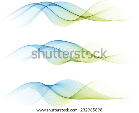 Abstract color waves isolated on white - stock vector
