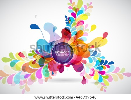 Abstract colored background with leafs and place for your text. - stock vector