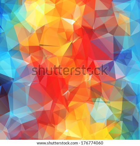 Abstract colored bright summer background, triangular geometric style - stock vector