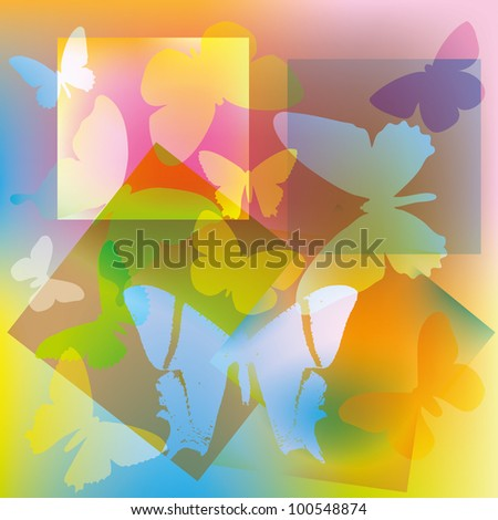 Abstract colored butterflies on a background of geometric shapes. - stock vector