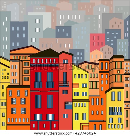 Abstract colored city view in outlines with many houses and buildings as a single piece. Cartoon style. Digital vector image.