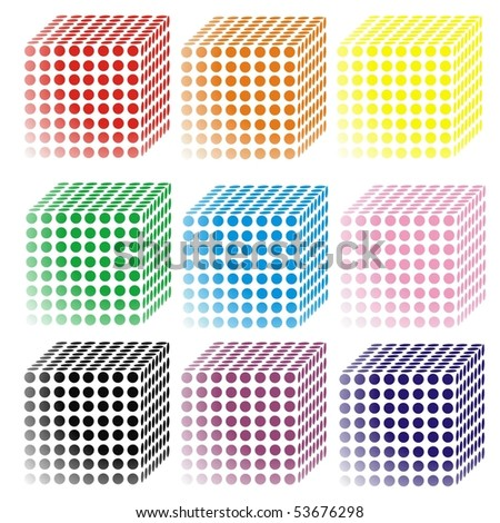 Abstract colored cubes on a white background for your design - stock vector