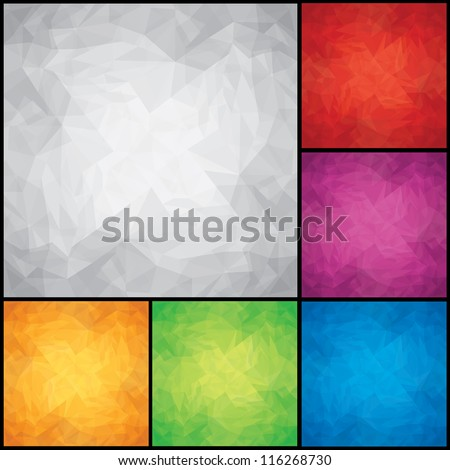 Abstract Colored Design Backgrounds. Crumpled Paper Textures. Vector EPS 10 - stock vector
